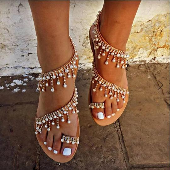 21823bc7bb Woman Sandals Women Shoes Rhinestones Chains Thong Gladiator Flat Sandals  Crystal Chaussure Plus Size 46 tenis feminino ghn7
