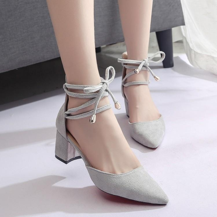14aab71f48f0 Shoes Women Pumps 2019 New Korean Version Of The Pointed Thick With Suede  Shallow Mouth Ring Straps Ladies High Heels Wild Sandals Shoe Boots Sexy  Shoes ...