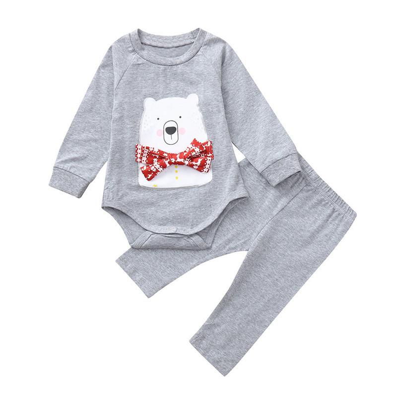 587995f4795f8 Winter Kids Clothes Toddler Baby Girls Boys Cartoon Bear Printed Long  Sleeve Romper Jumpsuit+Pant Set Clothes Baby Sets AU29#F