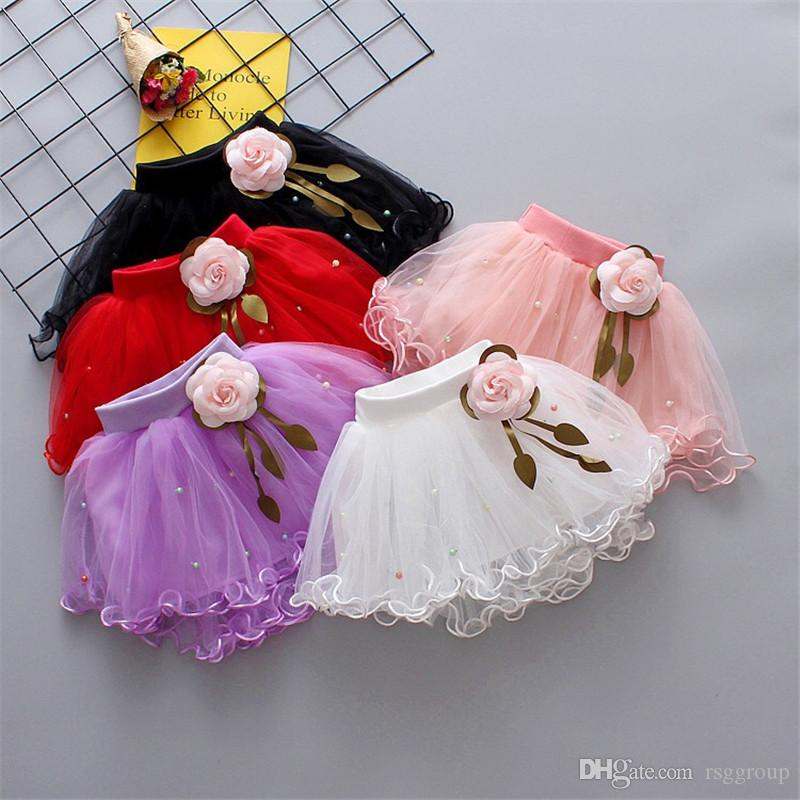 INS Designs Little Girls Summer Pearl Flowers Gauze Skirt Short Dance Skirt Baby Girls TUTU Skirts Princess Party Wear Lovely Child Clothing