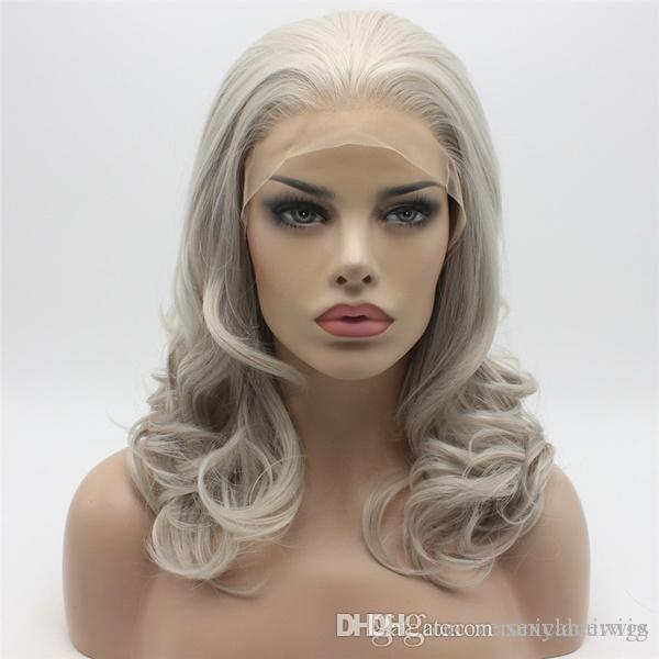 Natural Hairline Glueless Shoulder Length Grey Wig Half Hand Tied Body Wave  Hair Heat Resistant Synthetic Lace Front Wig For Women Free Part Cheap Lace  Wig ... 1e0f619c59