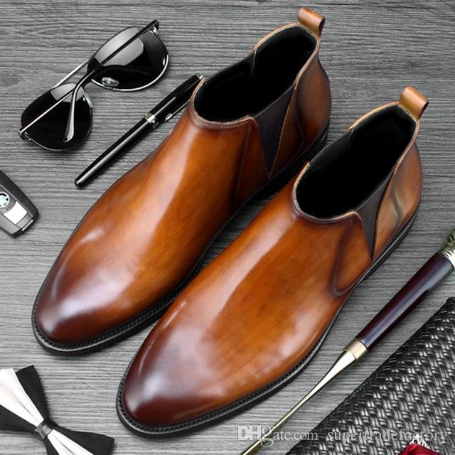 922879c8c9 High Quality Man Handmade Formal Shoes Genuine Leather Round Toe Men's  Footwear High-Top Cowboy Riding Chelsea Ankle Boots