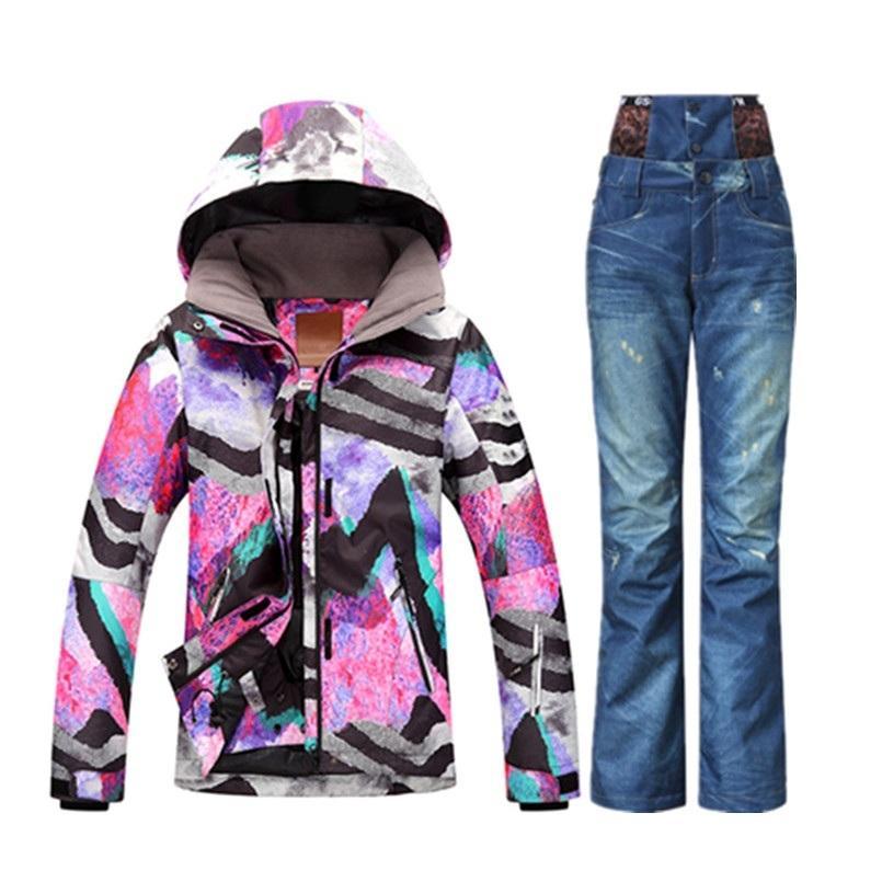 7b495eed25 2019 GSOU 2018 Wintersport Ski Suit Women Skiing Snowboard Jacket Set Ski  Clothes Snow Pants Denim Ski Jas Dames C18112301 From Shen8402