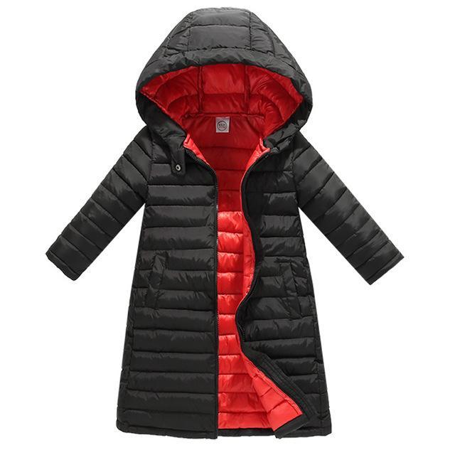 4351647df Winter Fashion Warm Cotton Kids X-Long Coat Heavyweight Baby Girls ...