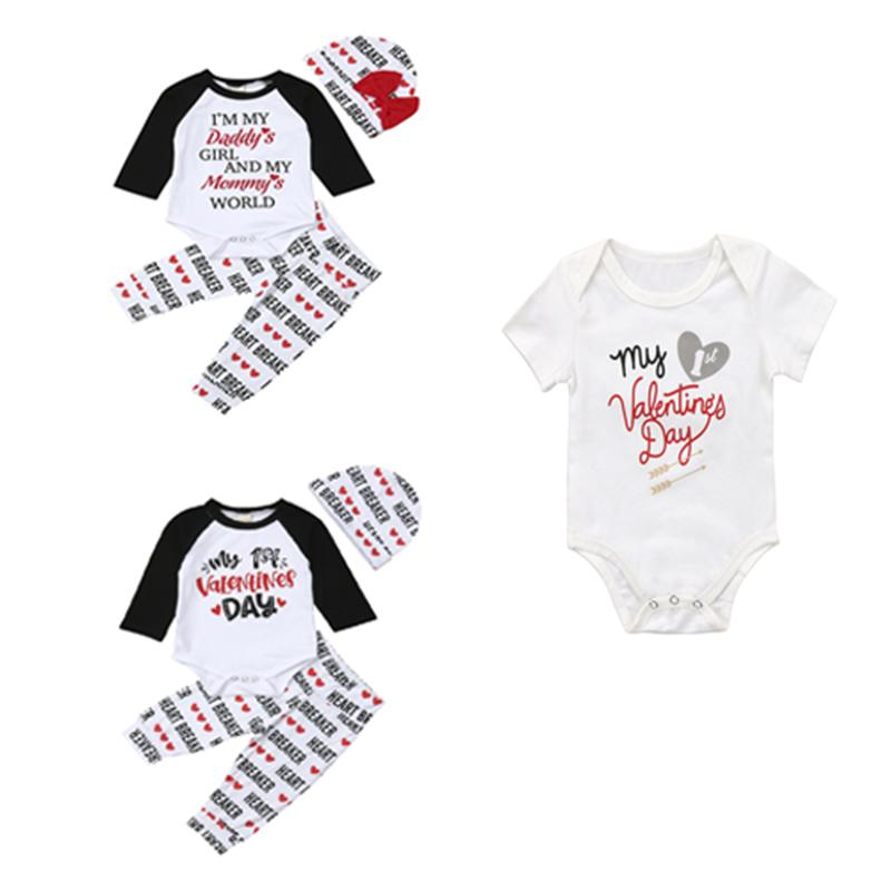 314c646d 2019 Pudcoco Newborn Baby Boy Girl My 1st Valentines Day Clothes Long  Sleeve Romper Top Letter Print Leggings Outfit Sets Beanie From Xunqian, ...