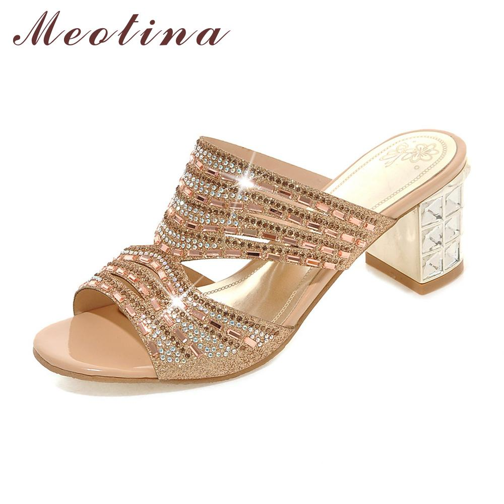 158fd7c02d88bc Meotina Designer Shoes Women Luxury 2018 Women Slides Open Toe High Heels  Rhinestone Slippers Summer Slippers Gold Size 9 10 11 Comfortable Shoes  Shoe Shops ...