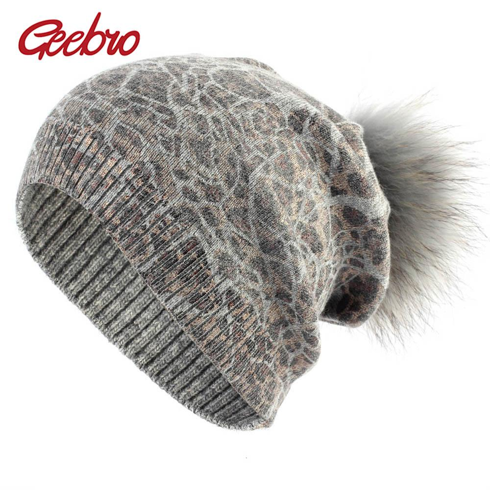 Geebro Women S Beanie Hat With Raccoon Fur Pompom Winter Knitted Cashmere  Slouchy Beanie Hat With Real Fur Pompoms For Femme Slouchy Beanie Skull Cap  From ... 18b10d27781