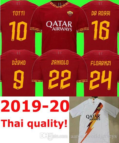 54329ad5b 2019 Maglie Calcio 2019 2020 As Roma Italy Serie A Patch Football Soccer  Jerseys Rome DE ROSSI JESUS DZEKO PEROTTI Away White TOTTI Shirt 19 20 From  ...