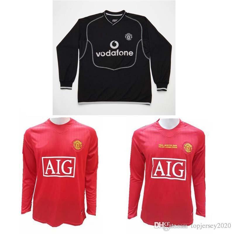 be776c6c1 2019 2007 2008 MAN UT Retro Long Sleeve Jerseys 2000 2002 Cantona Giggs  Paul Scholes Roy Keane Beckham Soccer Jersey 00 02 07 08 Football Shirt  From ...