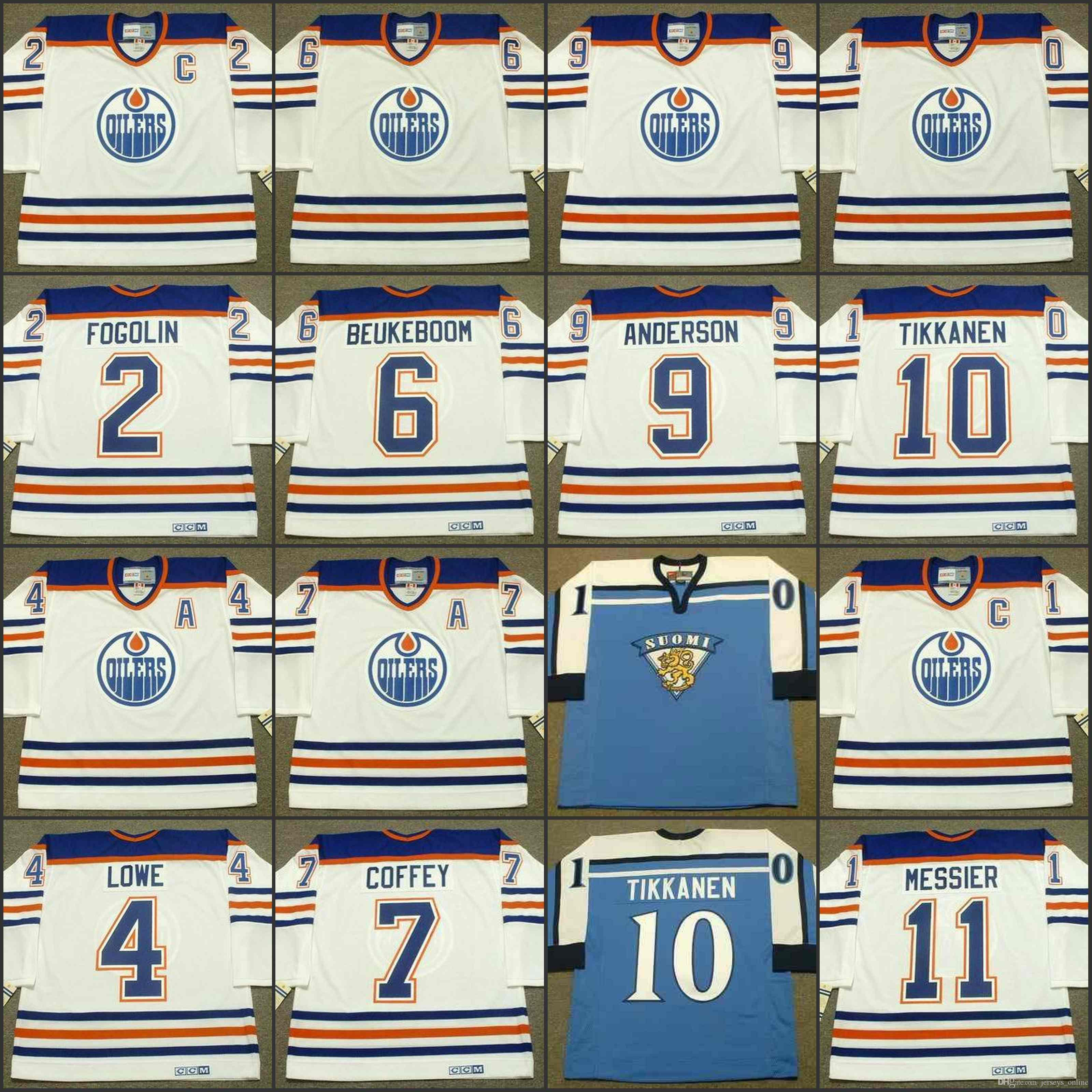 on sale 781ac b4144 Edmonton Oilers 2 LEE FOGOLIN 4 KEVIN LOWE 6 JEFF BEUKEBOOM 7 PAUL COFFEY 9  GLENN ANDERSON 10 ESA TIKKANEN ESA TIKKANEN jersey