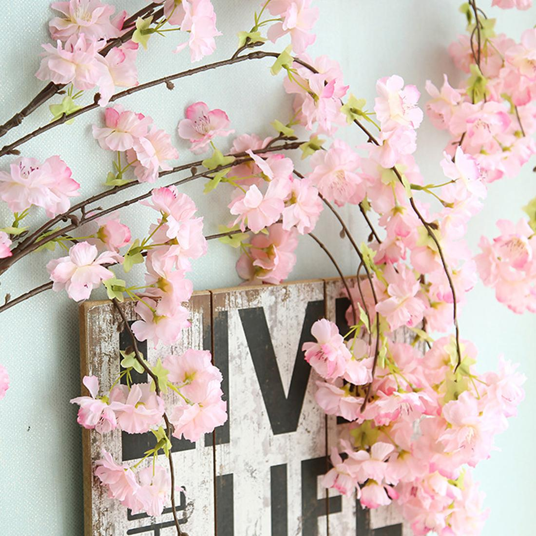 135cm 벚꽃 등나무 사쿠라 미술 웨딩 장식 덩굴 인공 꽃 파티 창 벽 화환 화환 매달려