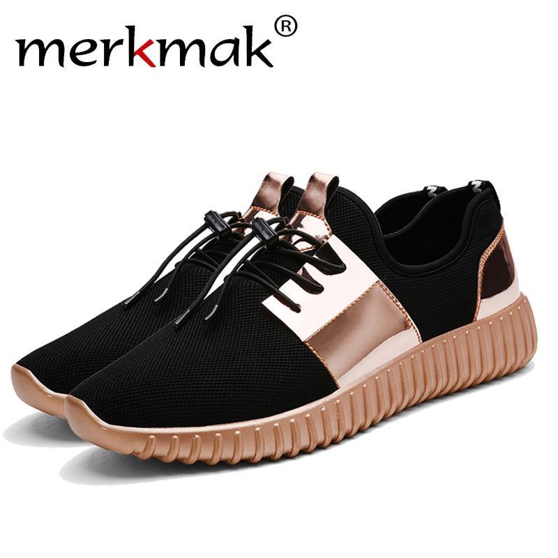 1764492b70 Compre 2019 Merkmak Flats Homens Sapatos Respirável Sapatos Casuais Amante  De Alta Qualidade Leve Unisex Malha De Ar Masculino Glitter Shoes Tamanho  Grande ...