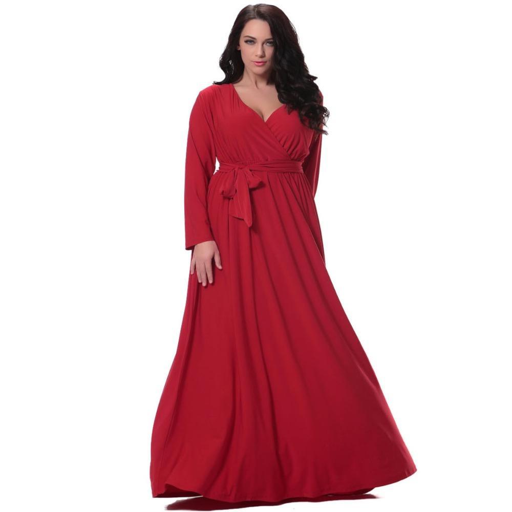 985e37e53 Compre Mulheres Red Longo Vestido Plus Size 6xl Completo Manga V Profundo  Pescoço Cintura Vestido De Natal Até O Chão Vestidos Vestidos De Festa  Longo De ...
