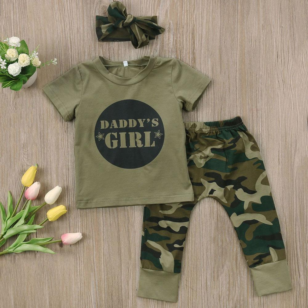 40afe6ce5f79d Super Cool Summer Spring Infant Clothes Baby Clothing Sets Baby Boys Girls  Camouflage T Shirt Tops + Long Pants headband Outfits Y18120801