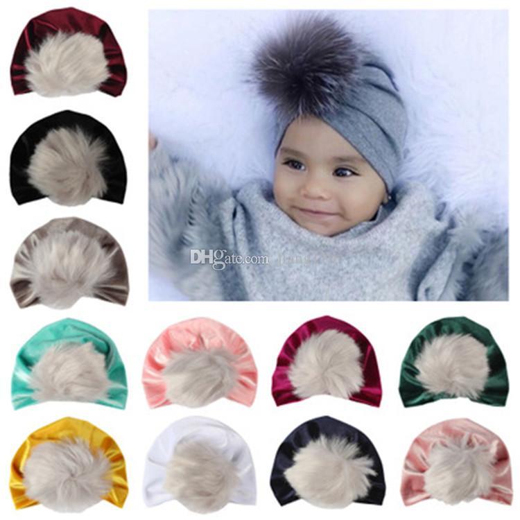 f2cadfe7a55 2018 Newborn Toddler Baby Kids Boys Girls Turban Hat Winter Warm Cap  Headwrap Wholesale Christmas Fur Pom Poms Hat Baby Velvet Beanies Bonne Baby  Turban ...