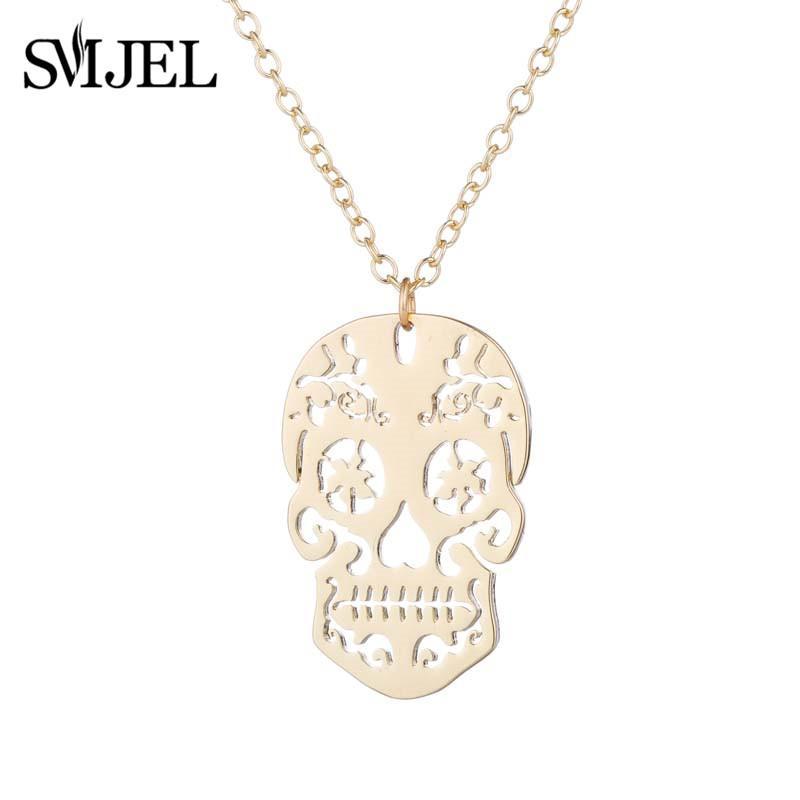 Smjel vintage pingente de esqueleto colar de mulheres crânio étnico colares choker jóias crânio mexicano presentes do dia das bruxas collier femme