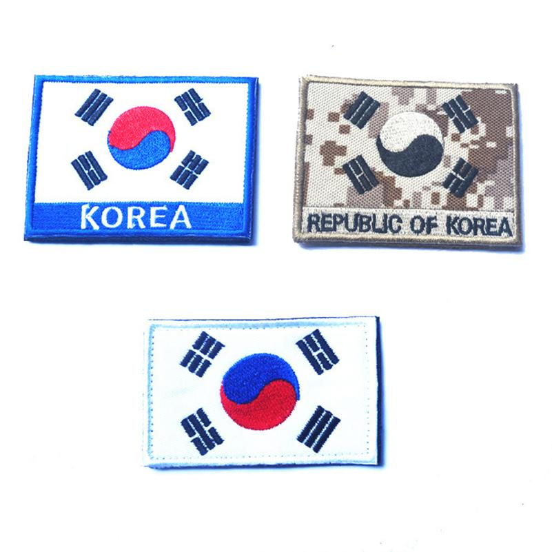 Embroidered South Korea Flag Patches Army Korea Hook&Loop Patch 3D Tactical Military Patches Fabric Armband National Flag Badge