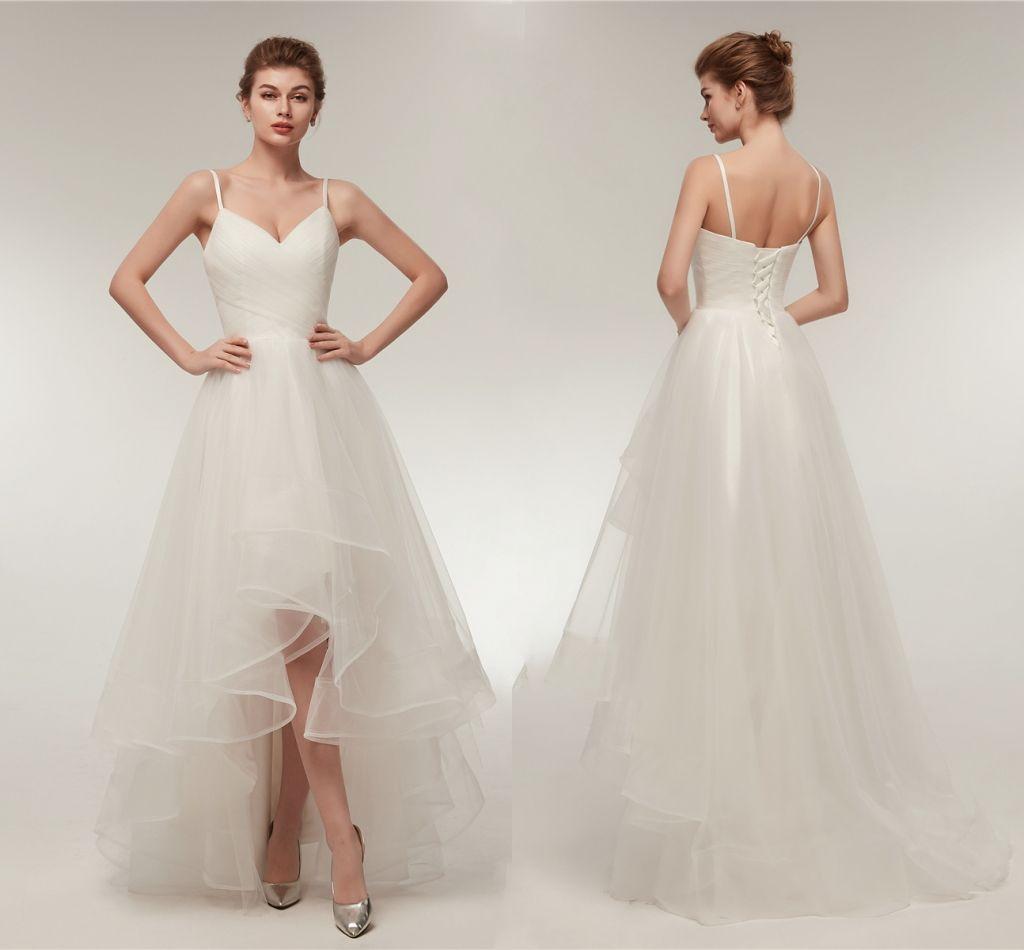 Elegant Ruffle V Neck A Line Wedding Dresses Tulle Long Hi Low