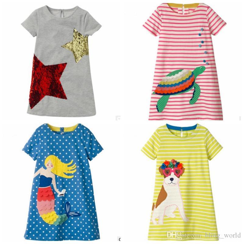 1a2e45de770b0 Acheter Robes De Filles Paillettes Robe De Princesse Robe Appliqued Enfants Robes  Robes À Manches Courtes Bébé Tenues D'été Enfants Vêtements Sirène 4 ...