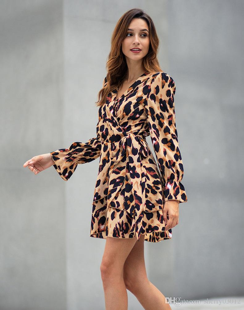 f61436c141 New Spring Long Sleeved Ruffles Dress 2019 Womens Sexy V Neck Leopard Print  Ruffled Hem Long Sleeve Club Wear Party Wrap Mini Dresses Sundresses Women  ...