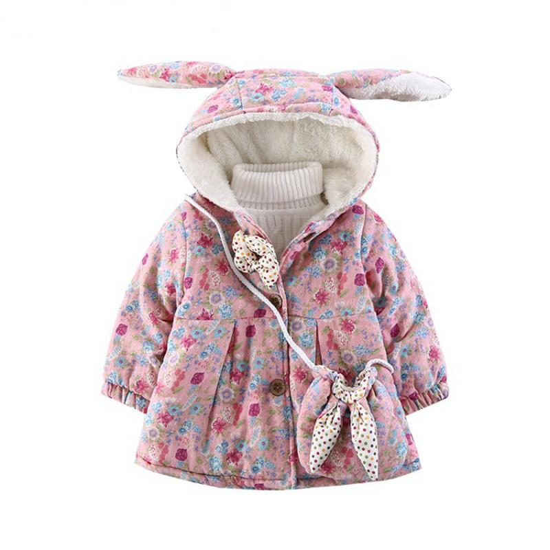 c79b096ff Winter Baby Girl Cold Protection Floral Print Cute Rabbit Ears ...