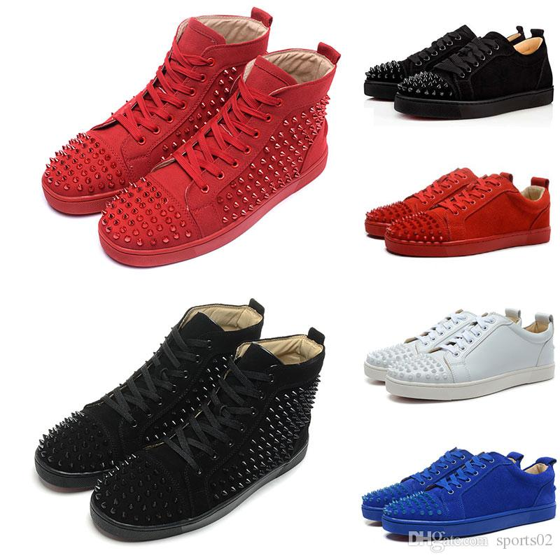 eb67d9e6d394 2019 Classic Style Black Spike Red Bottom Sneakers Leather Shoes Suede  Breathable Lace Up Fashion Casual Shoes Men Women Size With Box Dust Bag  From ...