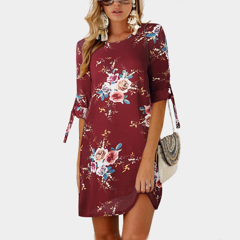 c4615302929 Women Summer Dress Boho Style Floral Print Chiffon Beach Dress Tunic  Sundress Loose Mini Party Dress Vestidos Plus Size 5xl Cocktail Dresses  Style Green ...