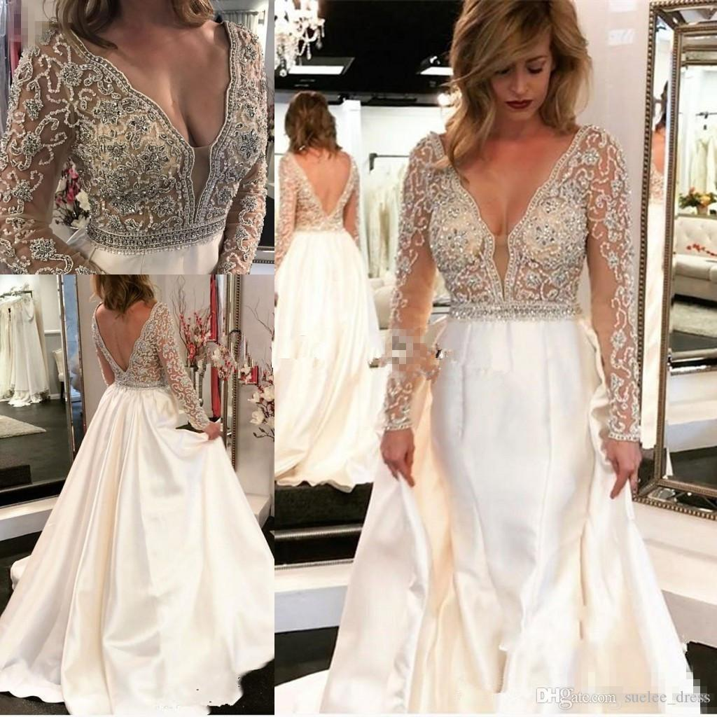 a636204c Discount Sexy Long Sleeves A Line Ivory Wedding Dresses Deep V Neck Satin Beaded  Sequins Backless Beach Wedding Bridal Gowns Custom Made Wedding Dresses ...