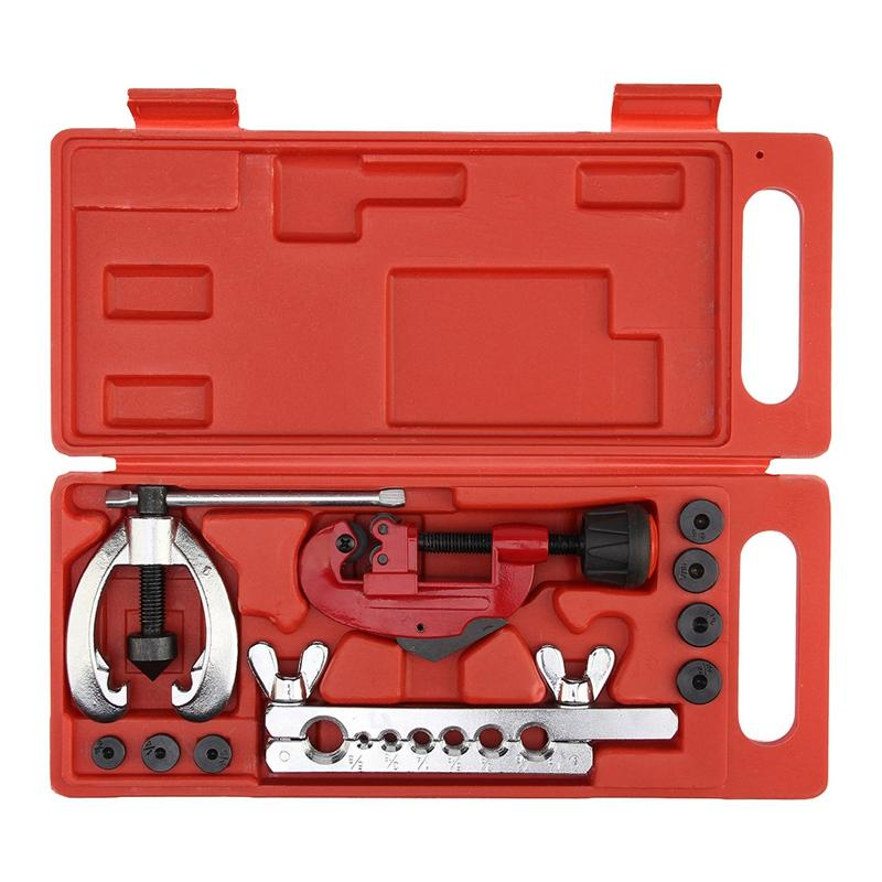 Heat Treated Steel, metal Tube Cutter Brake Fuel Pipe Repair Double Flaring Die Tool Set Clamp KitFor Cutting And Flaring