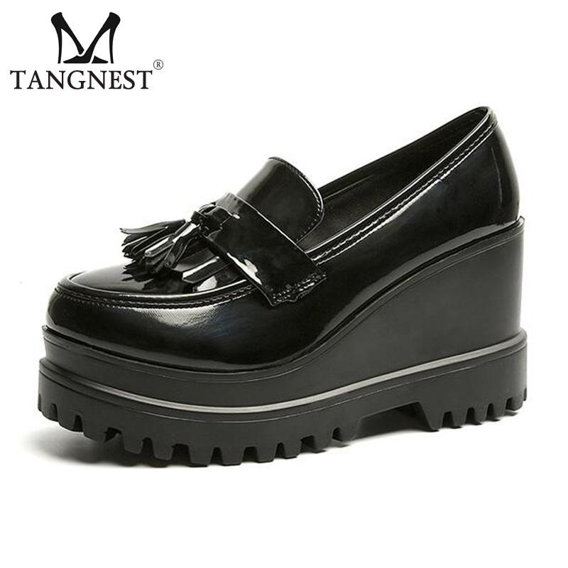 cf33db1fe4f Designer Dress Shoes Tangnest New Patent Leather Platform Fashion Tassel  9.5 Cm Increasing Slip On Creepers Women Oxfords Xwd6036 Brown Dress Shoes  Leather ...