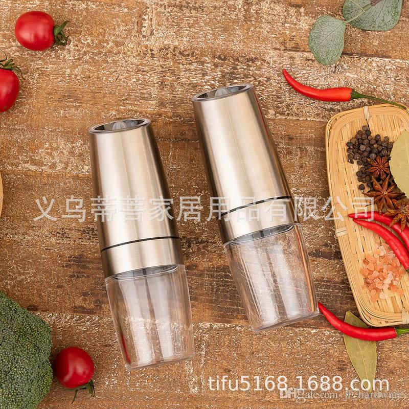 Kitchen Supplies Pepper Mills Stainless Steel Electric Induction Pepper Grinders Electric ZX-D33B Set Acrylic Grinders Ceramic Grinding Core