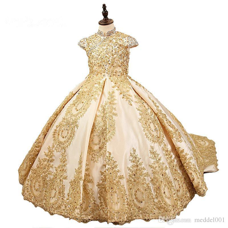 2019 On Sale Gold Lace Beading Flower Girl Dresses Sequins Satin Girls Pageant Dress Long Train Royal Girls Communion Ball Gowns
