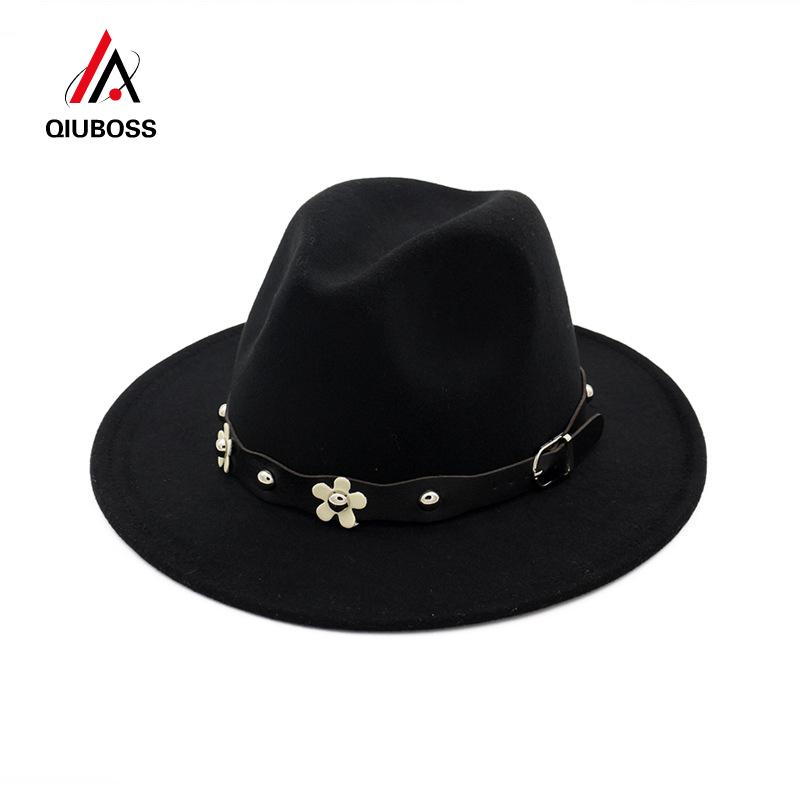 9e092f7a3d7 QIUBOSS European US Classic Wool Felt Fedora Trilby Hats Wide Brim ...