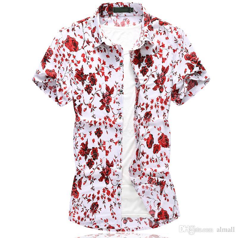 37837bd28 Camisa de los hombres Moda de verano Camisas florales casuales de los  hombres Slim Fit Camisas de flores de manga corta Ropa de hombres Trend  Plus ...