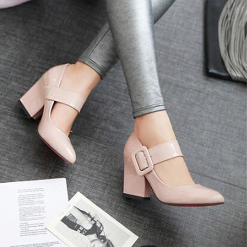 fc1cd29727b285 High Heels Shoes Women Mary Janes Shoes Thick High Heel Pumps Autumn Fall  Footwear Red Black White Apricot Big Size 34 43 Deck Shoes Boat Shoes For  Men From ...