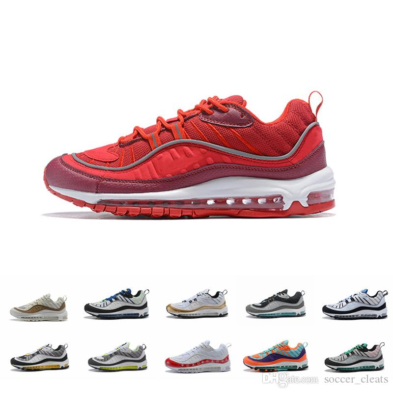 competitive price 06615 6a337 2019 Team Red 98 Gundam Cone Running Shoes Air Mens Women 98s Vibrant OG  Black Navy Fluorescent Green Maxes Trainers Sneakers Zapatillas