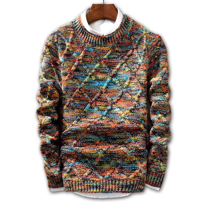 half off da290 79433 Pullover männer 2019 marke mode pullover multicolor pullover männlichen  oansatz streifen slim fit stricken herren pullover mann pullover männer