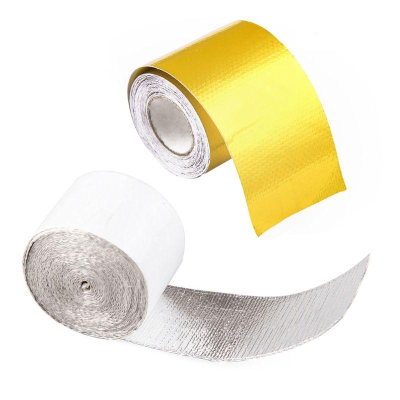 1 PC 5m Tubo de Escape folha de alumínio de alta temperatura Enrole Reflective Heat Shield Tape