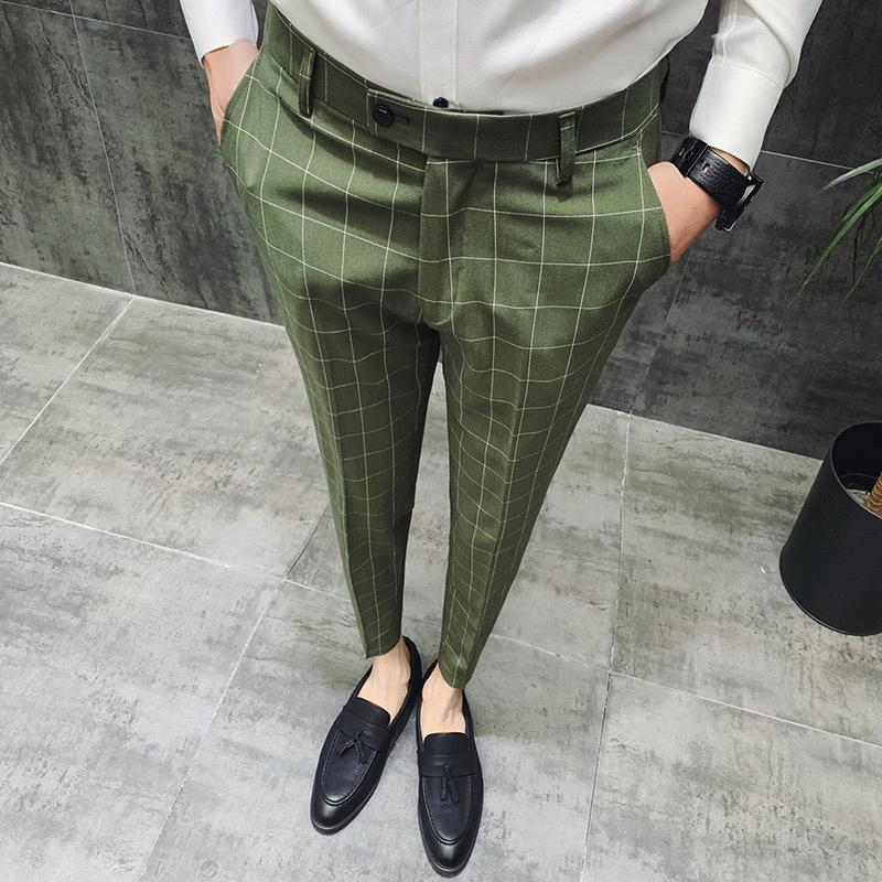 Herren Hose Stil Neue Business Mann Marke Designer Hosen Kleid Britischen Arbeit Anzug Männer Casual 2019 Karierten 45ARLj