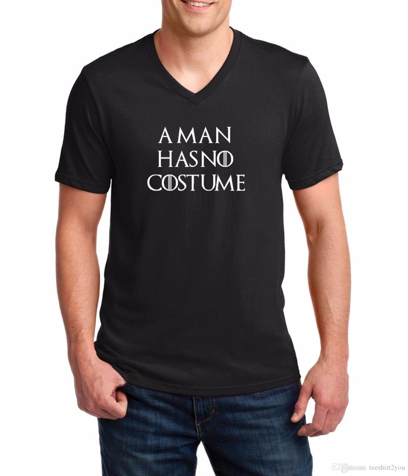 Men'S V-Neck A Man Has No Costume T-Shirt Funny Halloween Costume Shirt Tee Tee Shirt Men Man's Homme Harajuku Short Sleeve Fashion Custom X