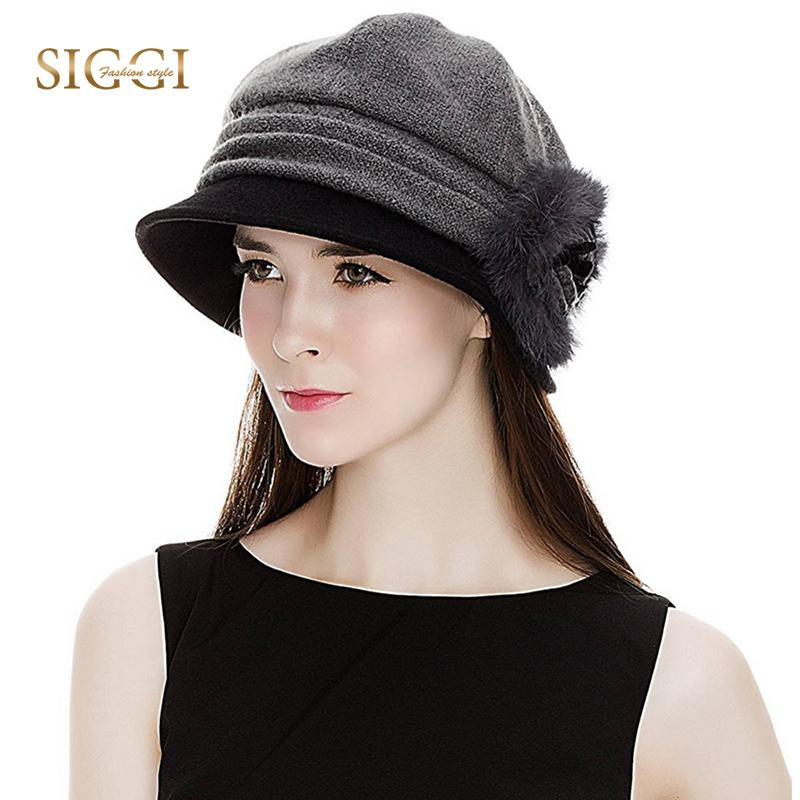 3d7a1ea10aa FANCET Women Winter Fedora Bowler Hat Cloche Round Cap 1920s Warm Bucket  Flower Vintage Fashion Gorros Vintage Hats Autumn 69160 D19011102 Hat Store  Fedora ...