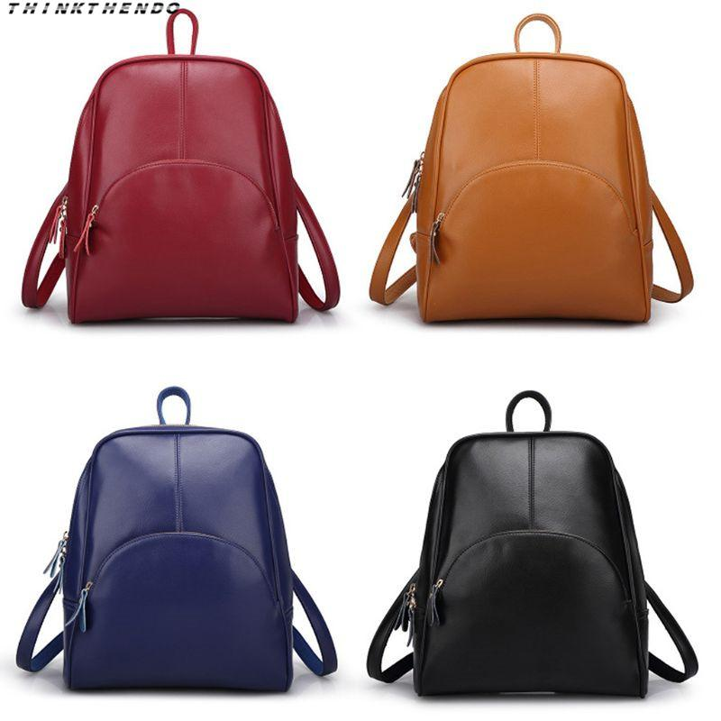 c927aa75483a THINKTHENDO Fashion Women S Backpack Purse PU Leather Ladies Female Casual  Shoulder School Bag For Girls Rucksack New Back Packs Rolling Backpacks  From ...
