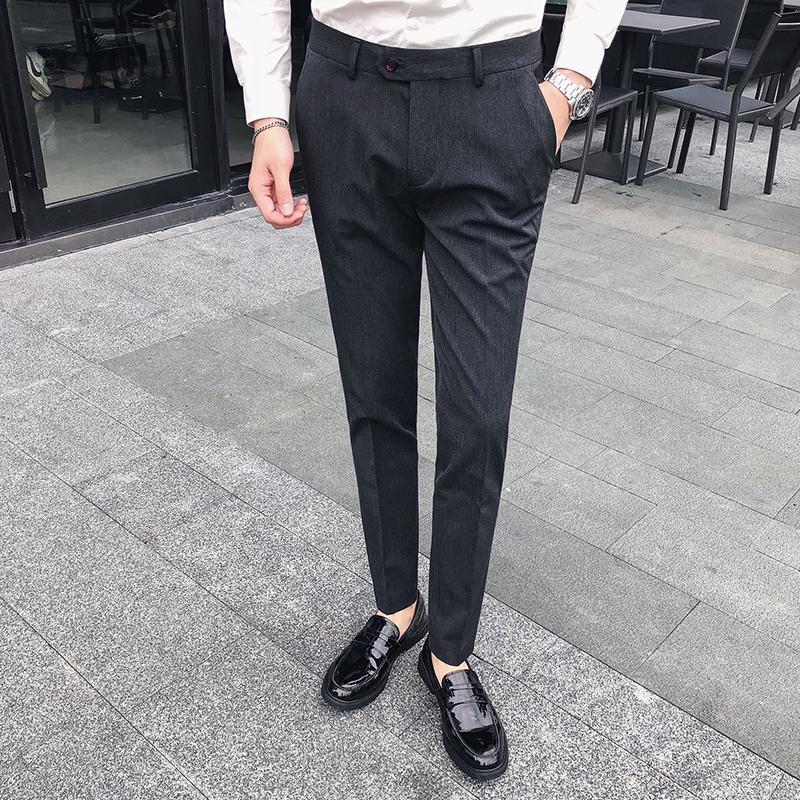 Compre Moda 2018 Hombres Pantalones Casuales De Alta Calidad Slim Fit Hombres  De Negocios Informales Pantalones De Trabajo Ropa Formal Estilo Británico  ... 268f682cfcc