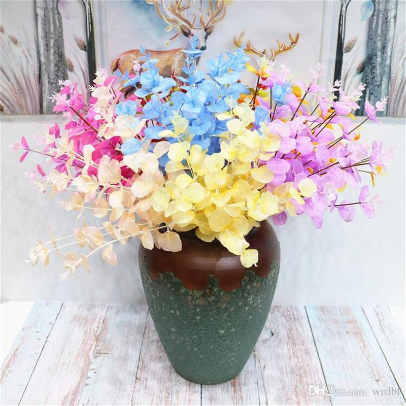 "Fake Eucalyptus Bunch 19.69"" Length Simulation Eucalyptuses Candy Color Plants for Wedding Home Decorative Artificial Plant"