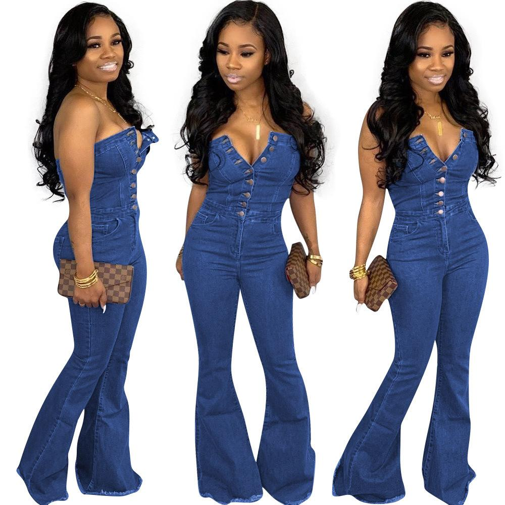 W8201 19 cross-border high-end explosion women's fashion casual sexy speaker denim jumpsuit 623