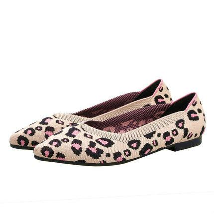 Women's Casual Shoes Breathable Soft Bottom Leopard-print Knit Flat Shoes Pointed Shallow-mouth Flats Size 35~40