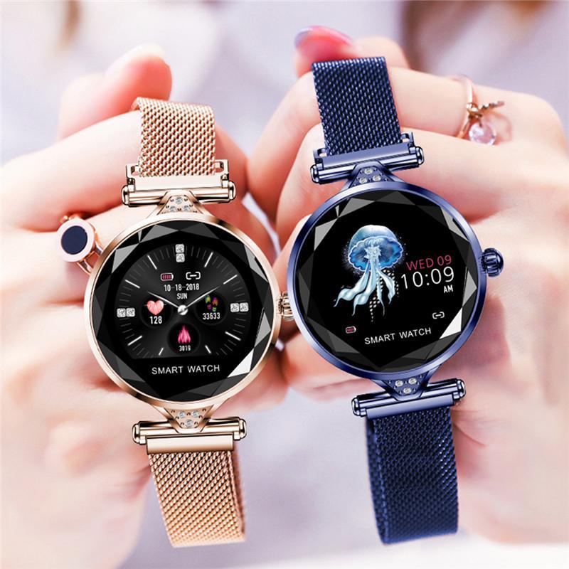a84bf8ec19c4 умные часы H1 женская мода монитор сердечного ритма 2019 новый женский ...