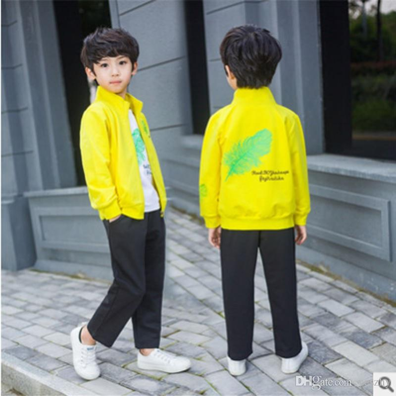 Boys Jacket Casual Clothing Set 2019 New Spring/Autumn Children 's 3 Piece 3 Print Colors Sets Kids Clothes Suits Size4-14 ly332