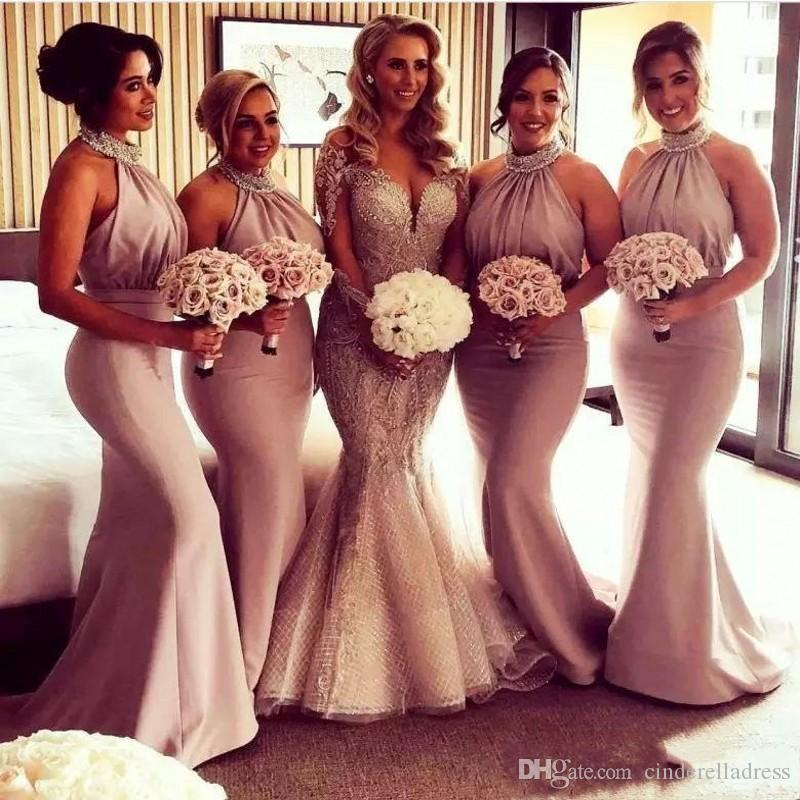 9410f8db2ae5e 2019 Modest Halter Bridesmaid Dresses Mermaid Long crystal beaded Ruched  Robes de demoiselles d honneur plus size Formal prom Dresses BM0201