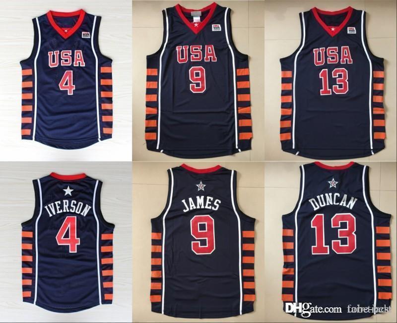 promo code ce687 822ef Men 2004 New Basketball Jerseys Dream Team 6 SIX 13 Tim Duncan 9 LeBron  James 4 Allen Iverson Jersey Men Navy Blue Stitched College